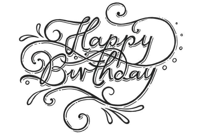 Happy Birthday Cursive Greeting Card