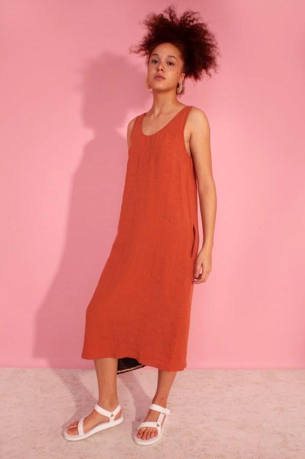 Basic Linen Shift Dress Terracotta LF Markey