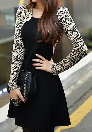 Embroidered Lace Sleeves Dress from Lookbook Store
