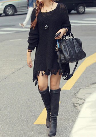 Fringe Knit Sweater from Lookbook Store