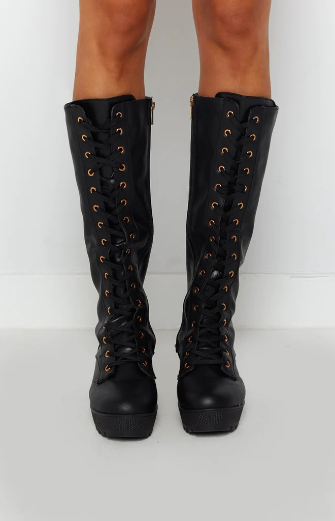 Careen Lace Up Boots Black 1
