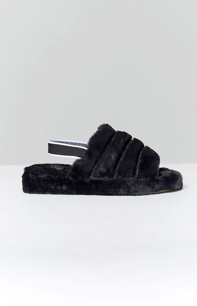 Snuggles Fluffy Sandals Black 4