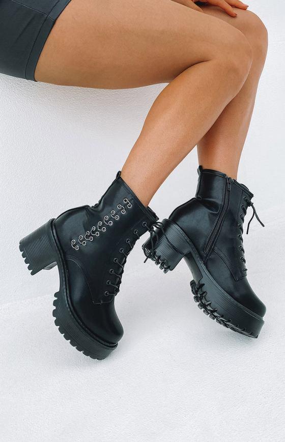 Koi Footwear Necron Eyelet Boots Black 6