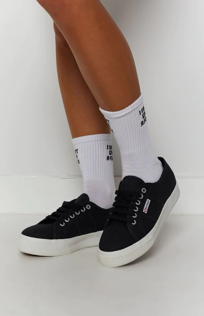 Superga 2730 COTU Canvas Sneaker Black and White 2