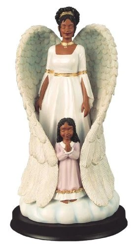African American Guardian Angel With Woman Figurine The