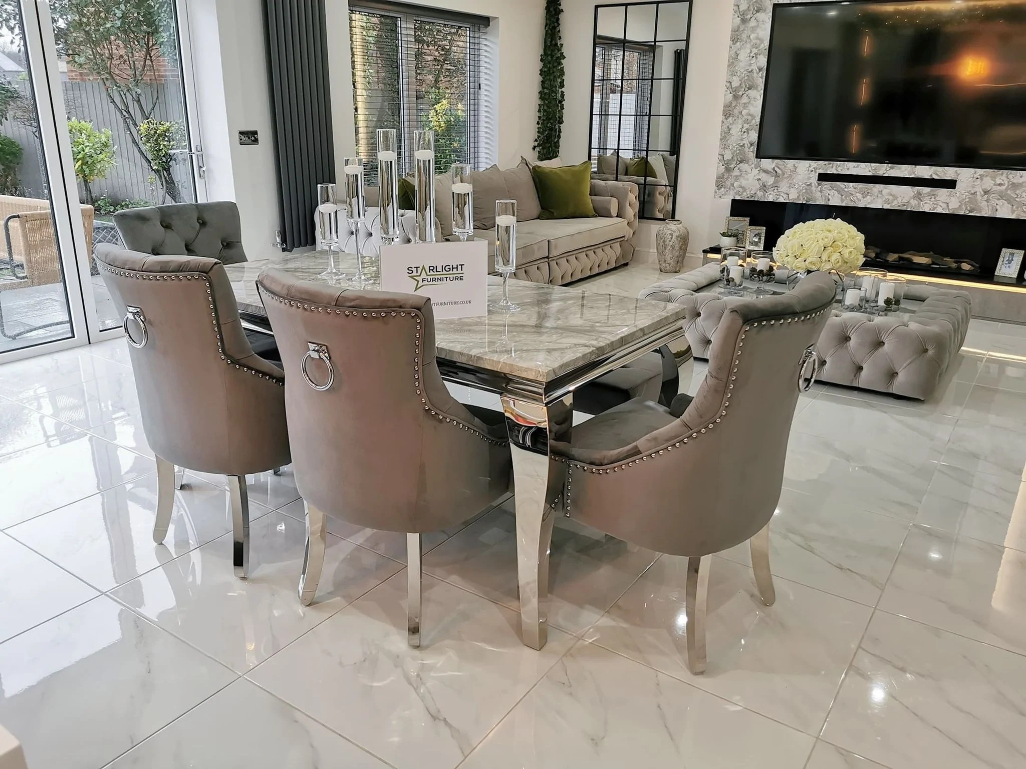 trafalgar rectangle marble dining table set with bull ring knockerback chairs