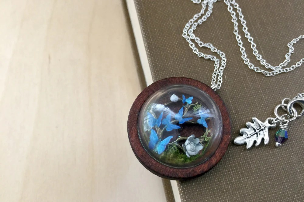 Butterfly Forest Terrarium Necklace Blue Butterfly