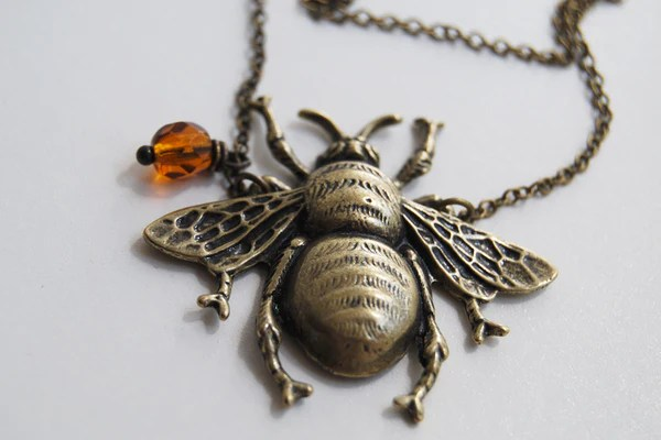 Large Brass Honey Bee Necklace Bumble Bee Pendant Cute
