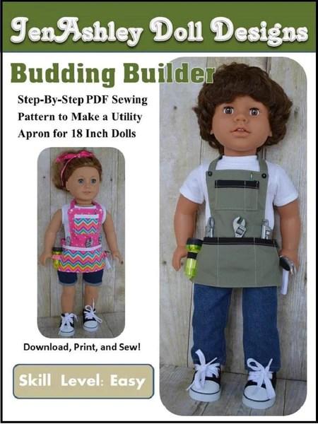 Jenashley Doll Designs Budding Builder Utility Apron Doll