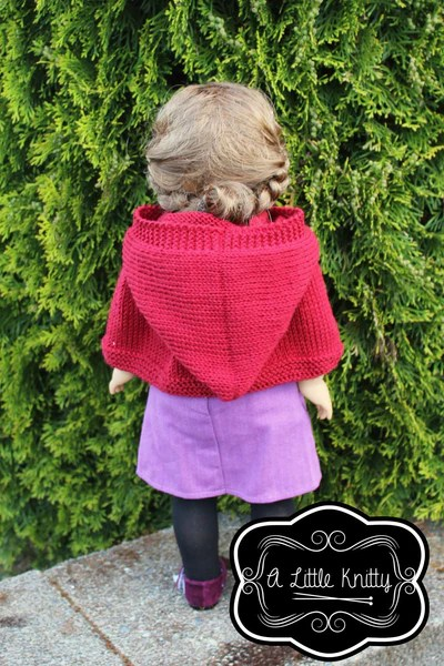 A Little Knitty Addy Hooded Cape Doll Clothes Pattern 18 Inch American Girl Dolls Pixie Faire