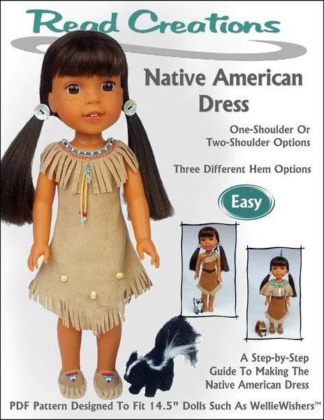 ReadCreations Native American Dress Doll Clothes Pattern For WellieWishers Dolls Pixie Faire
