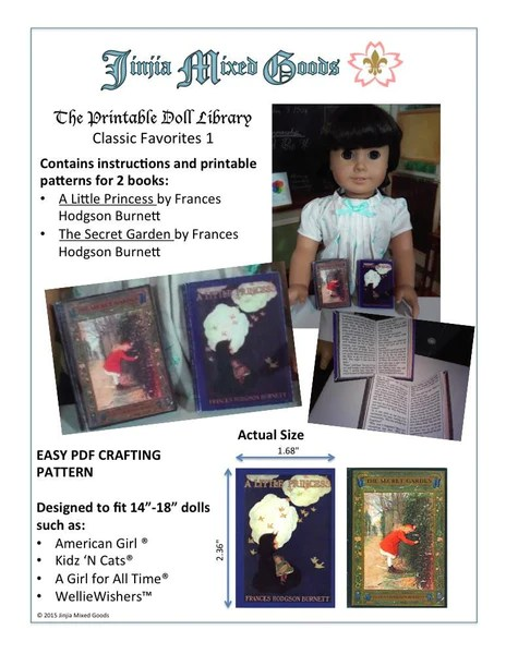 Jinjia Mixed Goods A Little Princess Amp The Secret Garden Printable Books Doll Paper Crafting