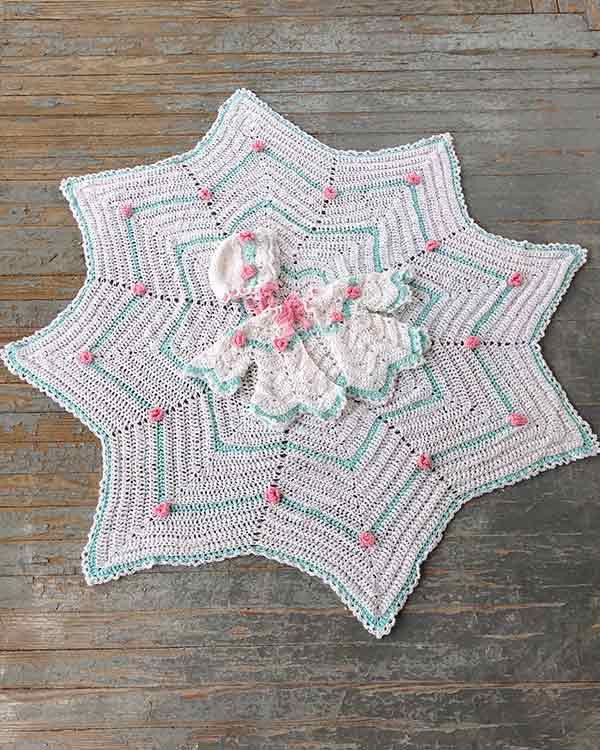 Rosebud Ripple Layette Crochet Pattern Maggies Crochet
