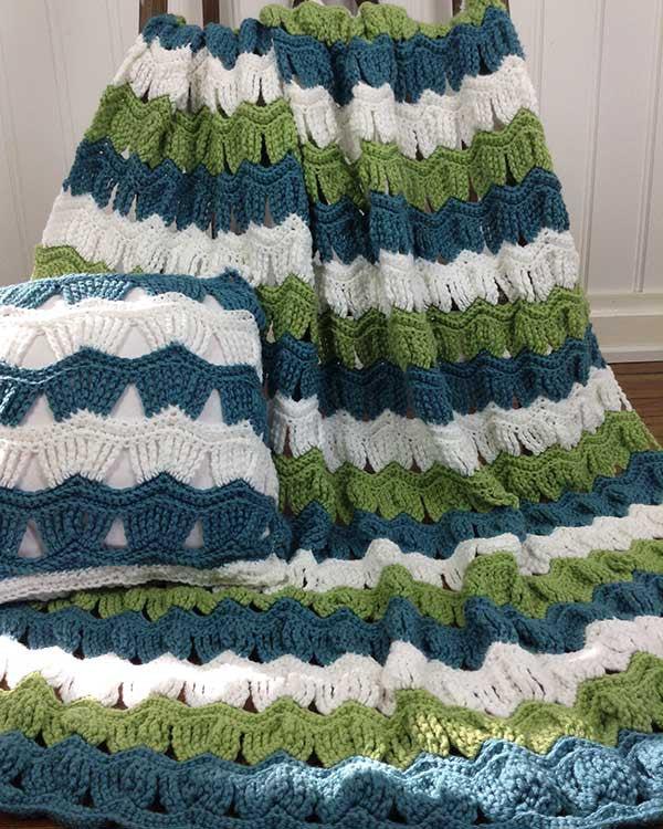 Victorian Ripple Afghan Amp Pillow Set Crochet Pattern Maggies Crochet