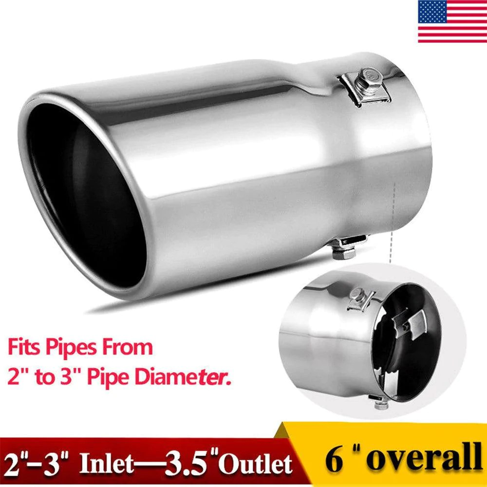 2 2 5 inch inlet adjustable exhaust tip bolt on polished stainless steel exhaust tailpipe tip
