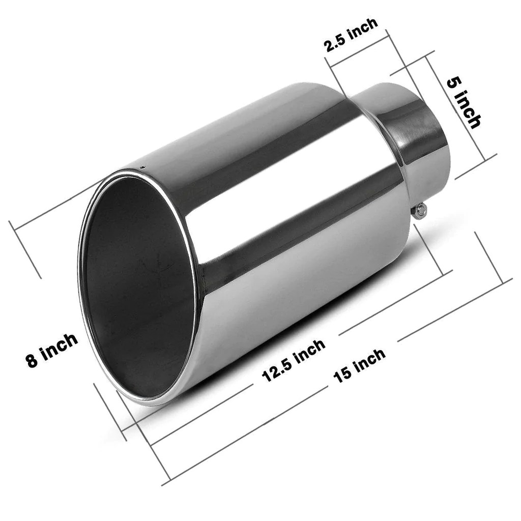 exhaust tip 5 inlet 8 outlet 15inch long chrome stainless steel bolt on diesel