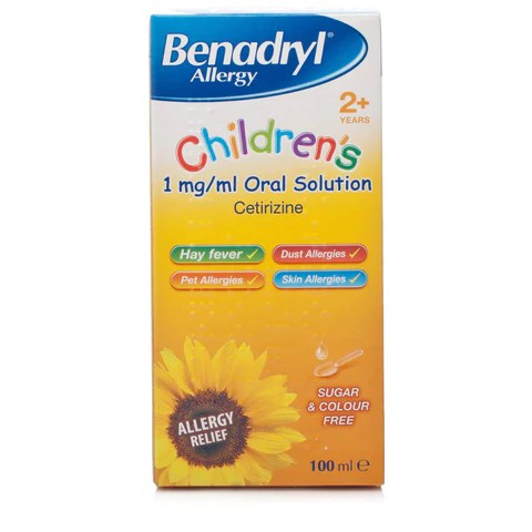 Benadryl Allergy Children's 1mg/ml Oral Solution (100ml Bottle ...