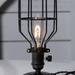 Industrial Desk Lamp Black Wire Cage Table Light Industrial Light Electric