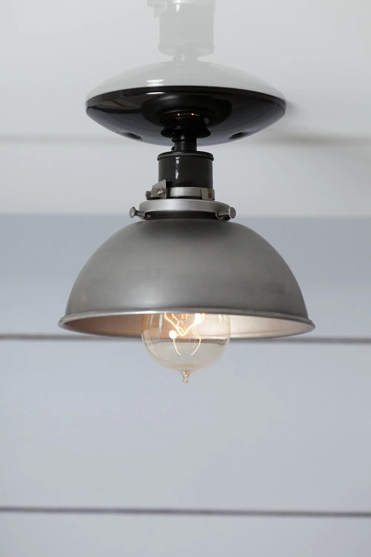 steel metal dome shade light semi flush mount ceiling lighting