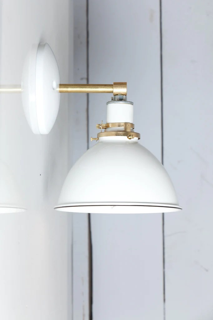 White Shade - Brass Wall Sconce Light | Industrial Light ... on Brass Wall Sconces Non Electric Lighting id=31623