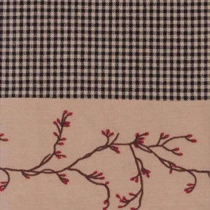 berry vine gingham check lined curtain panels red or black