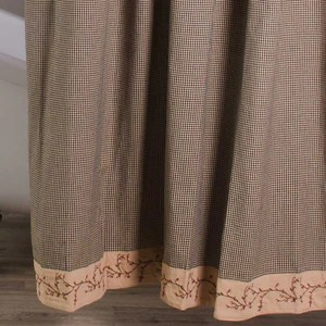 country berry vine gingham check shower curtain red or black