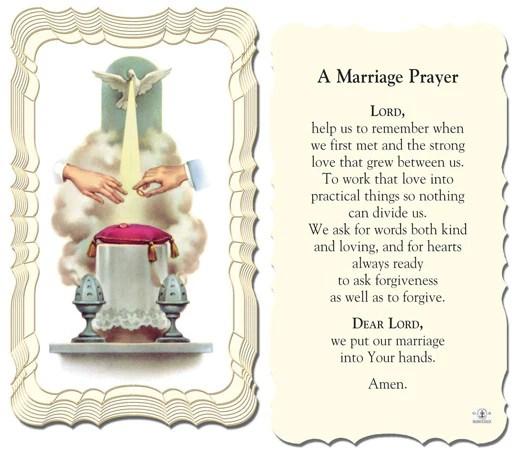 A Marriage Prayer Holy Card Catholic Online Shopping