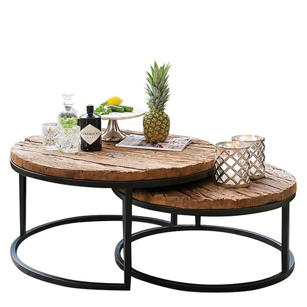 reclaimed wood nest of table industrial coffee table modish living