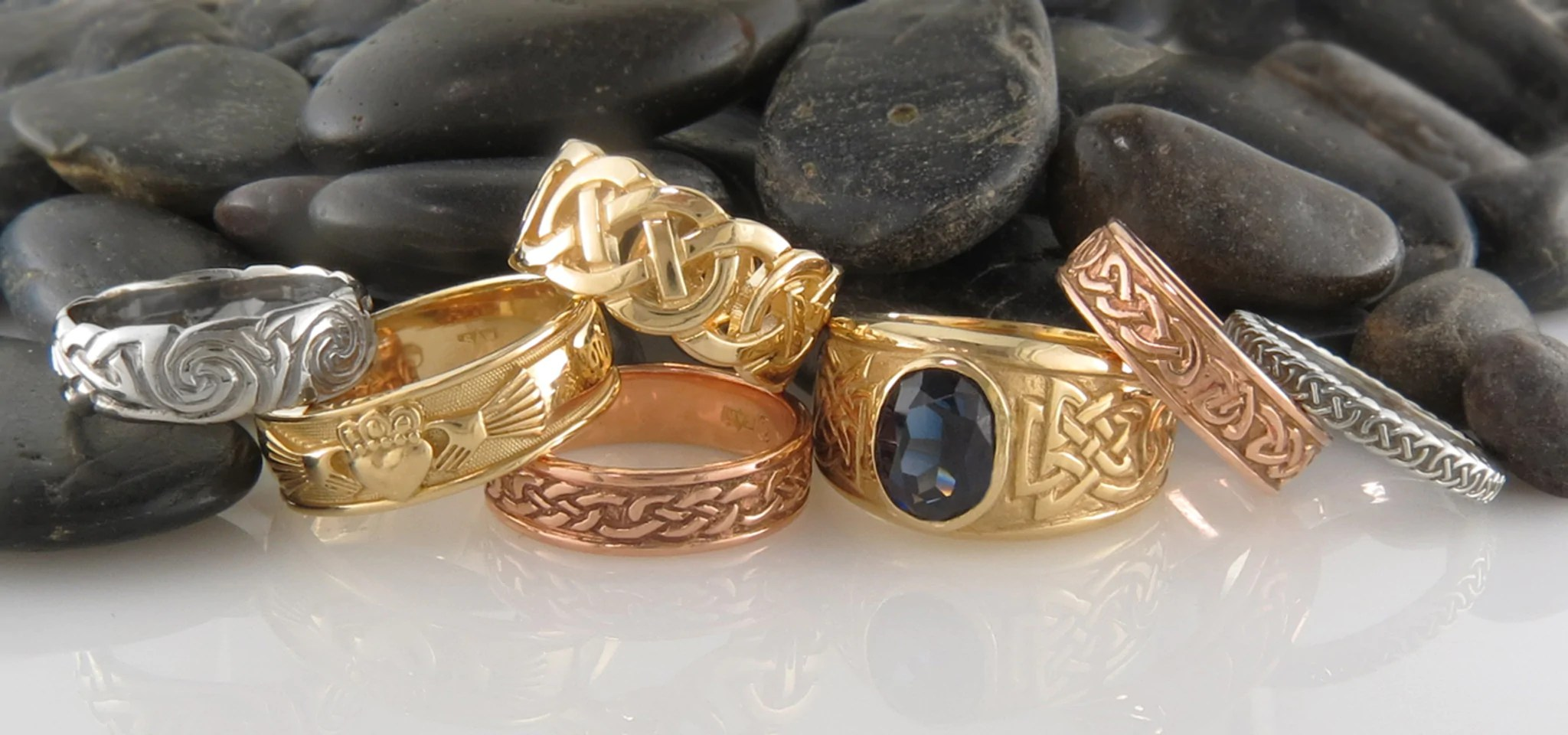 Celtic Rings In Sterling Silver And 14K Gold Tagged Gold