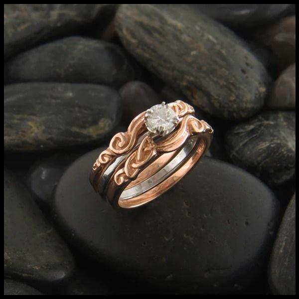 Diamond Celtic Interlocking Wedding Ring Set Walker