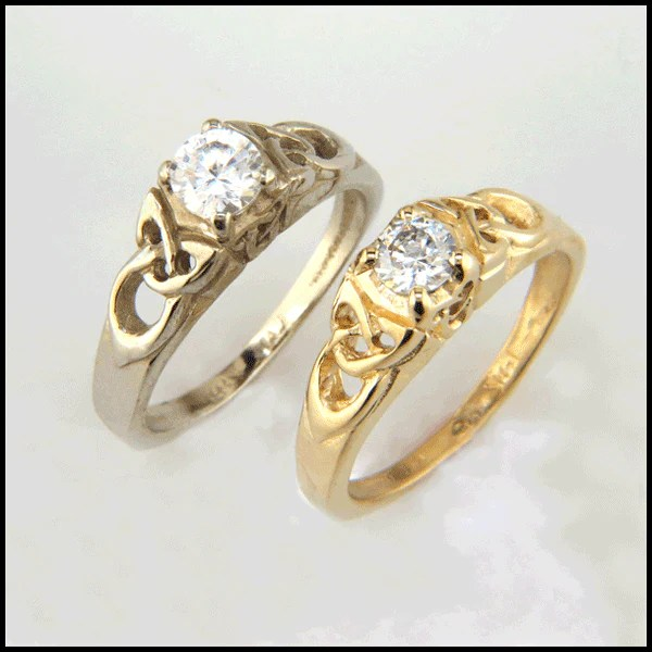 Celtic Gold Engagement Ring with Diamond R58