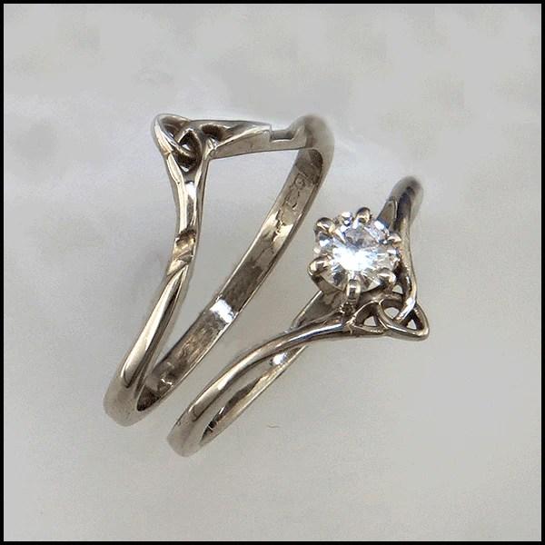 Gold Celtic Wedding Set with Princess Cut Diamond R84
