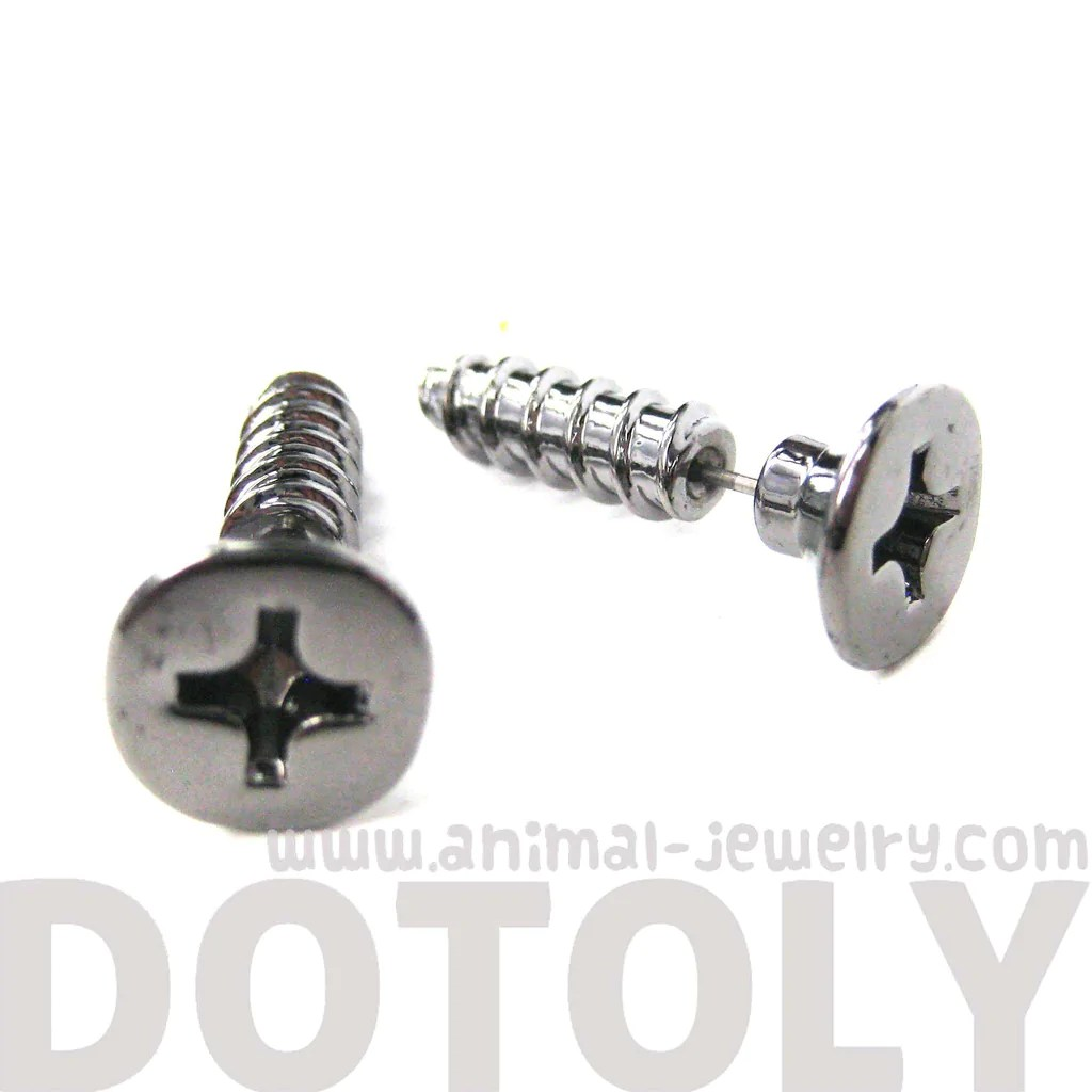 Fake Gauge Screw Shaped Faux Plug Earrings in Gunmetal Silver
