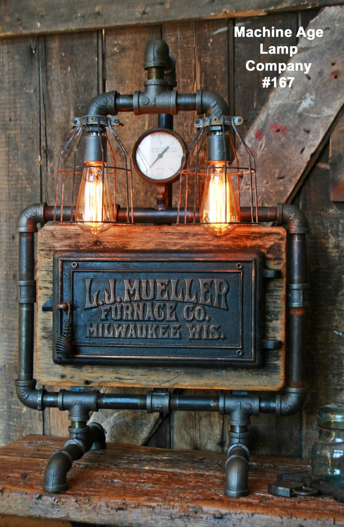 Steampunk Lamp Barn Wood And Pressure Gauge 167 SOLD
