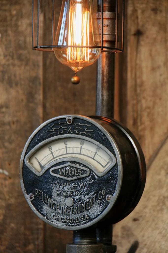 Steampunk Industrial Electrical Meter Gauge Lamp Light