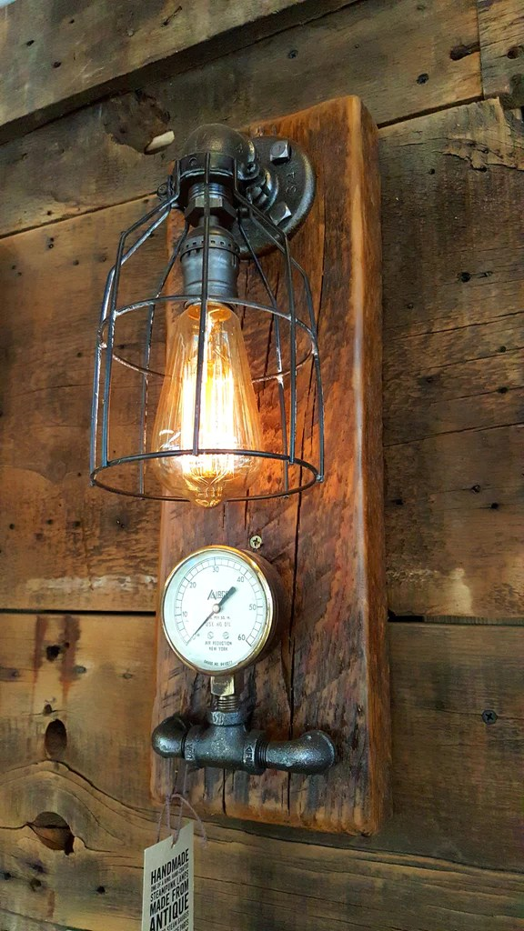 Steampunk, Industrial Barn Wood Wall Sconce, light, lamp ... on Wood Wall Sconces id=73606
