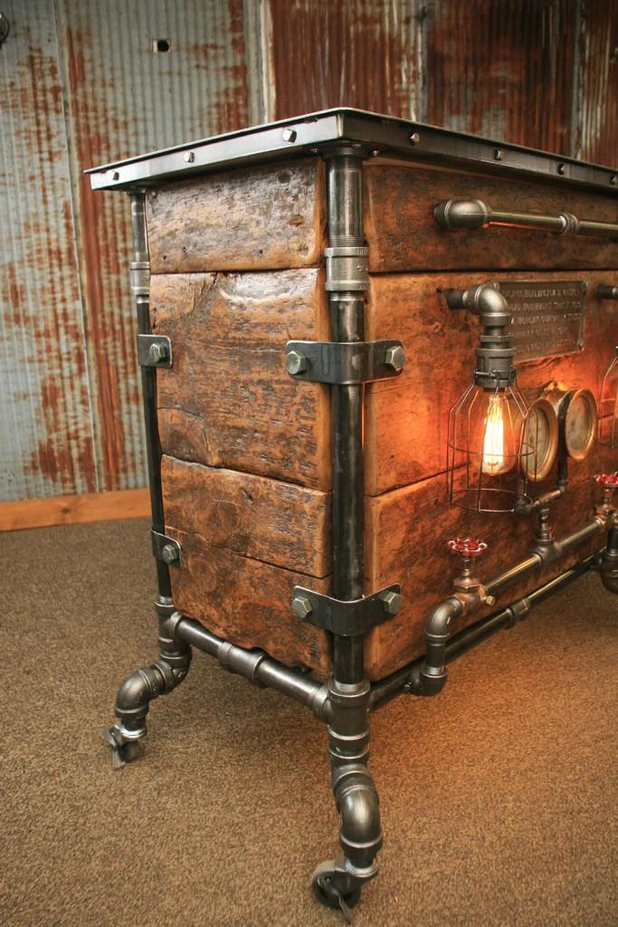 Steampunk Industrial Bar Hostess Stand Table Pub