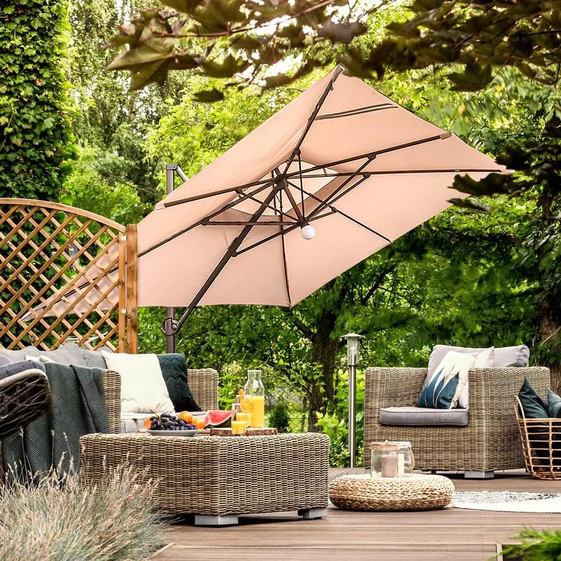9 x 12 feet rectangular offset cantilever umbrella with solar lights