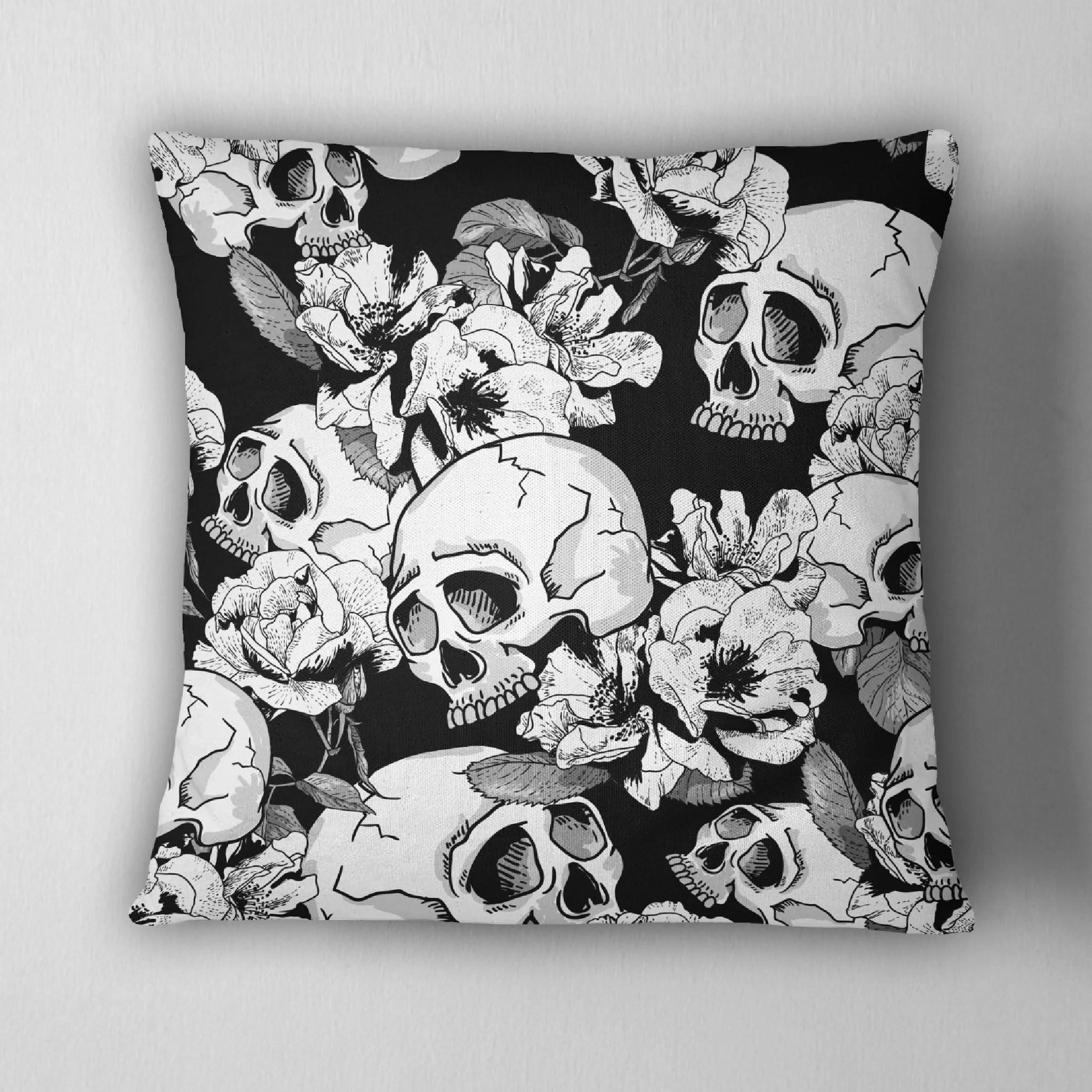 black and white flower skull throw pillow