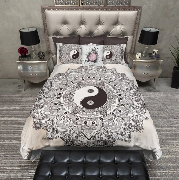 Henna Mandala Tea Stained Yin Yang Bedding Ink And Rags