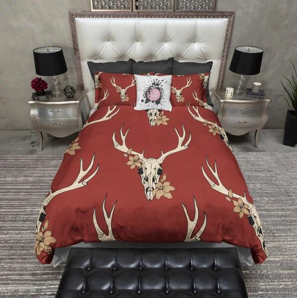 Brick Red Deer Buck Skull Bedding Ink And Rags