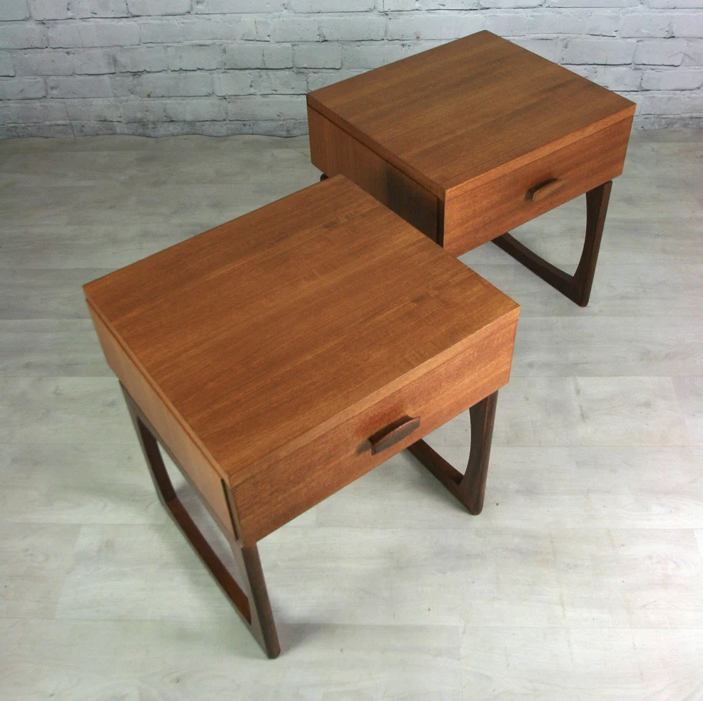 Pair Of Vintage G Plan Quadrille Bedside Tables Mustard