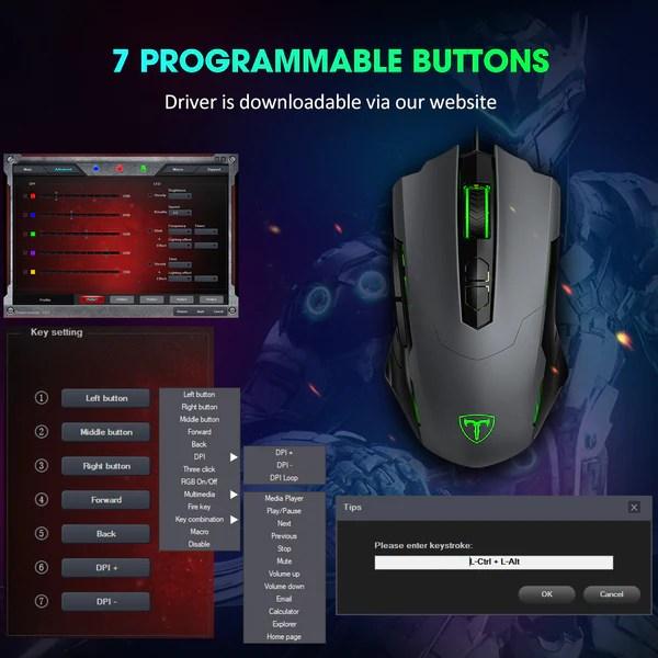 Pictek Gaming Mouse Wired 7200 Dpi Breathing Light Ipictek
