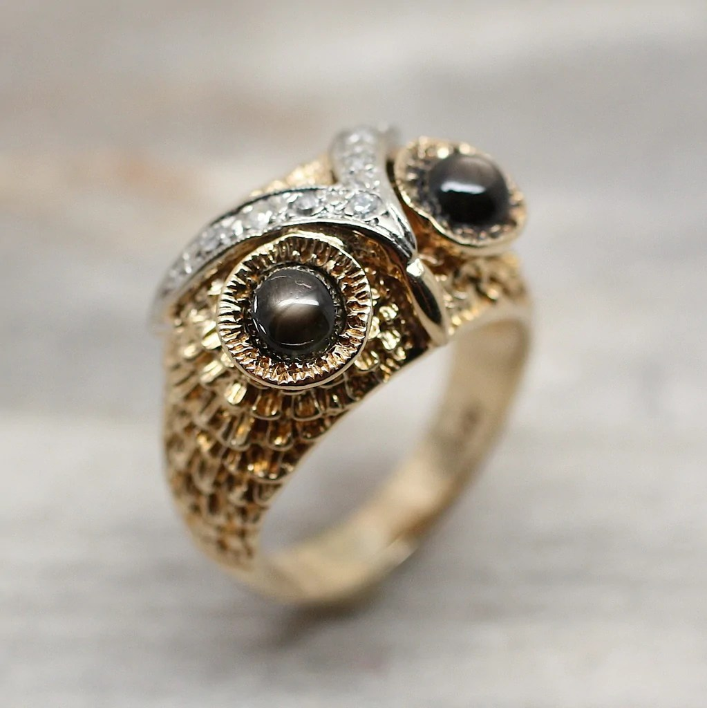 Circa 1960 14K Cats Eye Owl Ring Pippin Vintage Jewelry