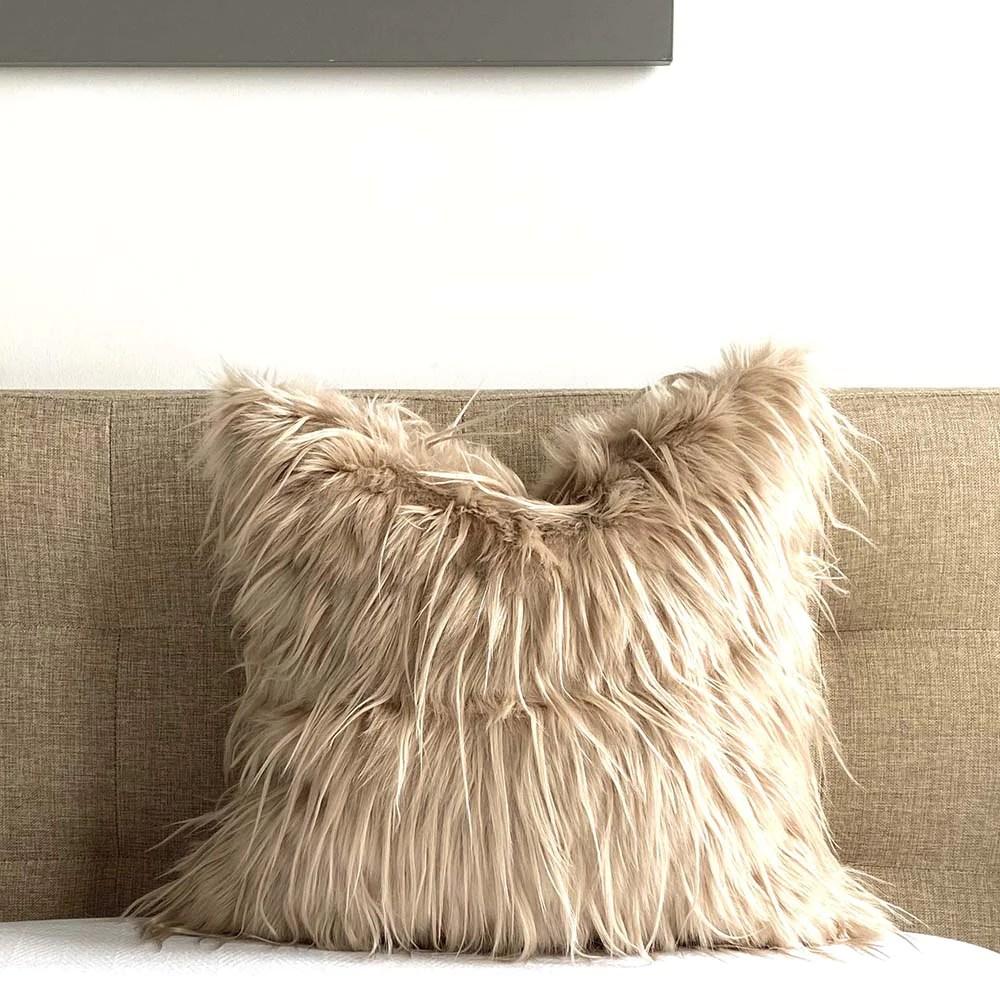 mongolian faux fur pillow cover camel
