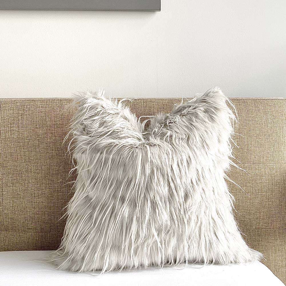 mongolian faux fur pillow cover wolfy