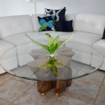 Naturally Sculpted Cypress Tree Stump Coffee Table Beveled Glass Top V Premier Estate Gallery