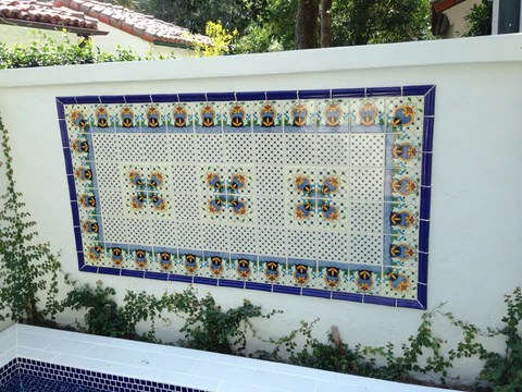 patio wall with mexican tile decorative