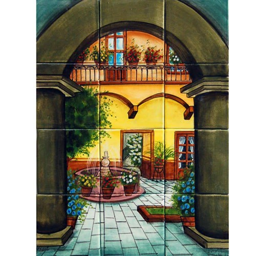 Mexican Style Mural - Patio Tipico - Mexican Tile Designs on Mexican Patio Ideas  id=72445