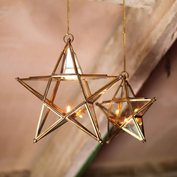 Hanging Zinc Or Brass And Glass Star Tealight Holder